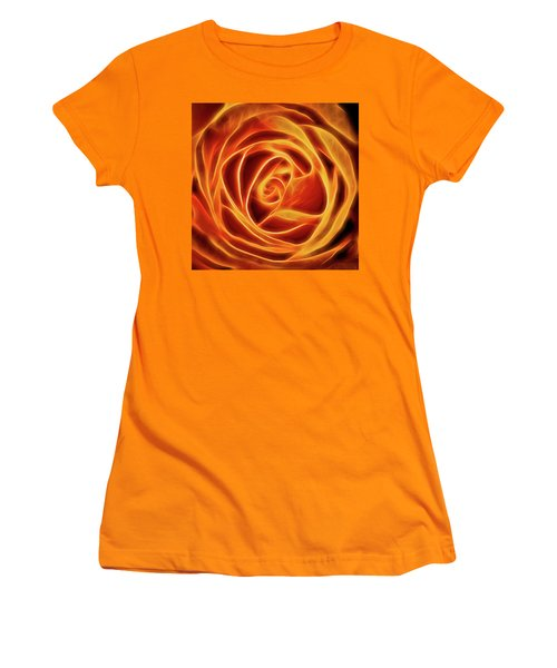 Women's T-Shirt (Junior Cut) featuring the photograph Yellow Rose Glow Square by Terry DeLuco
