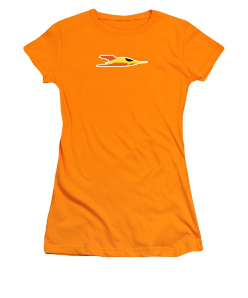 Yellow Space Rocket Women's T-Shirt (Athletic Fit)