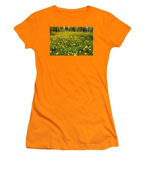 Yellow Spring Carpet Women's T-Shirt (Junior Cut) by Henryk Gorecki