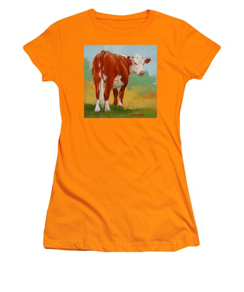 Young Cow Women's T-Shirt (Junior Cut) by Margaret Stockdale