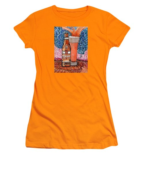 Women's T-Shirt (Junior Cut) featuring the painting Yum Burr Hyf. Beer by Connie Valasco