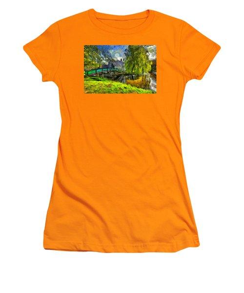 Zaanse Schans Women's T-Shirt (Junior Cut) by Eva Lechner