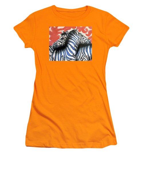 Zebra In Love Women's T-Shirt (Athletic Fit)