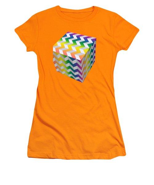 Women's T-Shirt (Junior Cut) featuring the digital art Zig Zag Cube by Chuck Staley