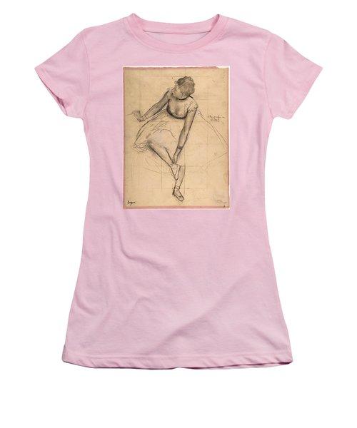 Dancer Adjusting Her Slipper Women's T-Shirt (Junior Cut) by Edgar Degas