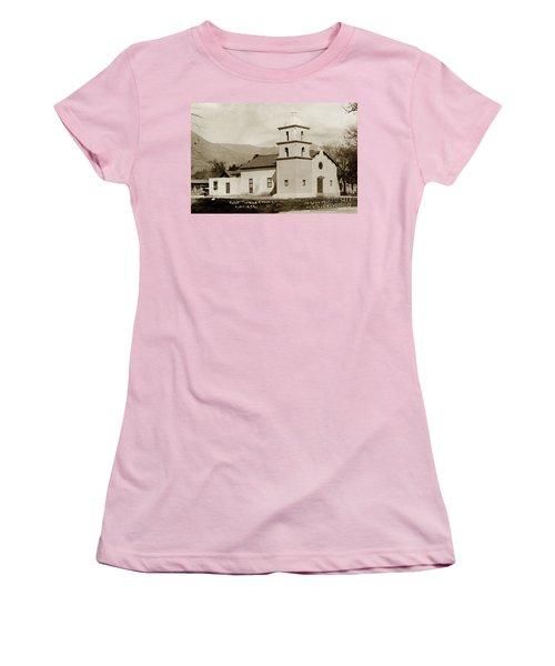 Women's T-Shirt (Junior Cut) featuring the photograph  St. Thomas Aquinas Catholic Church  Ojai Cal 1920 by California Views Mr Pat Hathaway Archives