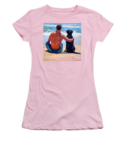 Women's T-Shirt (Junior Cut) featuring the painting Sand Sea You Me by Molly Poole