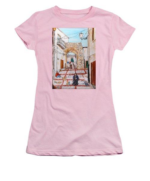 Women's T-Shirt (Junior Cut) featuring the painting Sutera Rabato Antico by Loredana Messina