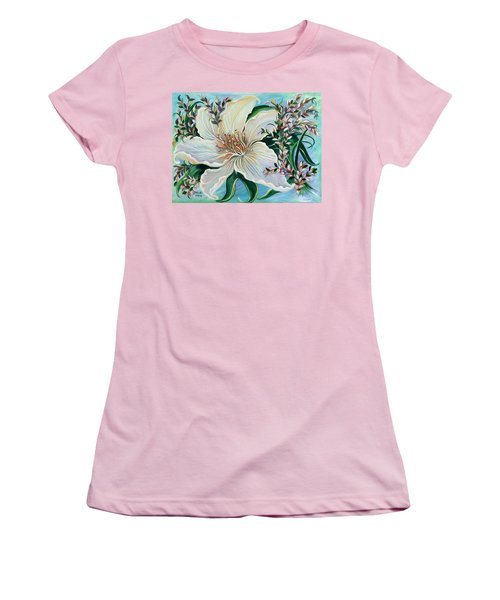 Women's T-Shirt (Junior Cut) featuring the painting White Lily by Yolanda Rodriguez