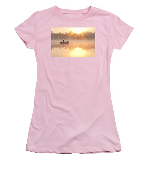 Sunrise In Fog Lake Cassidy With Fisherman In Small Fishing Boat Women's T-Shirt (Athletic Fit)