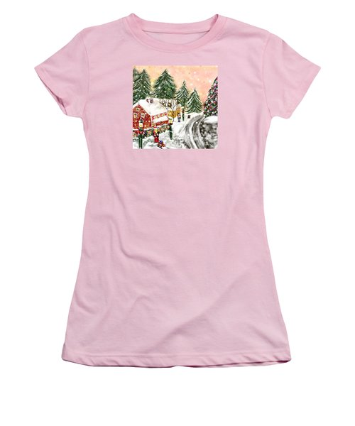 Women's T-Shirt (Junior Cut) featuring the painting A Magical Frost by Lori  Lovetere