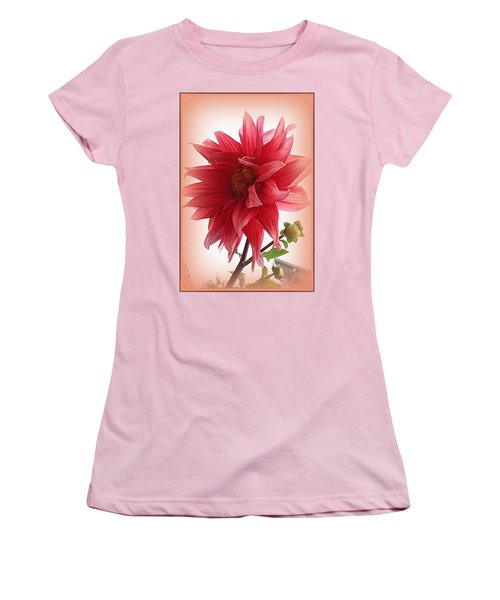 A Vision In  Coral - Dahlia Women's T-Shirt (Junior Cut) by Dora Sofia Caputo Photographic Art and Design
