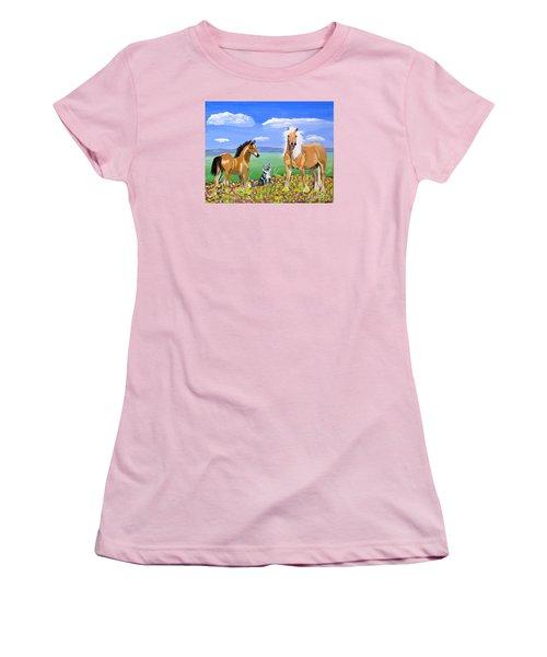 Bay Colt Golden Palomino And Pal Women's T-Shirt (Junior Cut) by Phyllis Kaltenbach