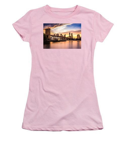 Brooklyn Bridge At Sunset  Women's T-Shirt (Junior Cut) by Mihai Andritoiu