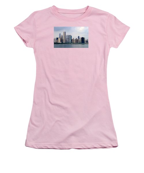 Women's T-Shirt (Junior Cut) featuring the photograph Chicago Panorama by Milena Ilieva