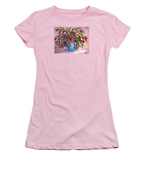 Women's T-Shirt (Junior Cut) featuring the painting Christmas Cactus by Lou Ann Bagnall