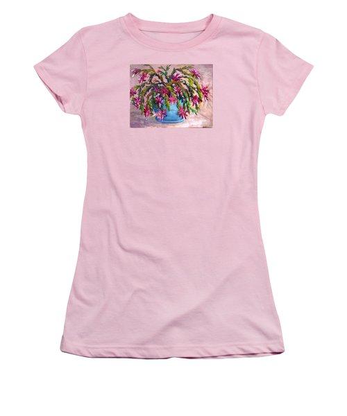 Christmas Cactus Women's T-Shirt (Junior Cut) by Lou Ann Bagnall