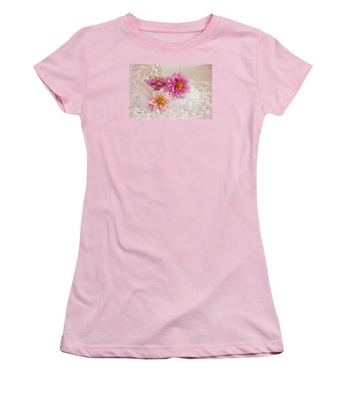 Women's T-Shirt (Junior Cut) featuring the photograph Dahlias And Lace by Sandra Foster