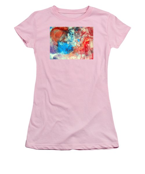 Women's T-Shirt (Junior Cut) featuring the painting Decalcomaniac Colorfield Abstraction Without Number by Otto Rapp