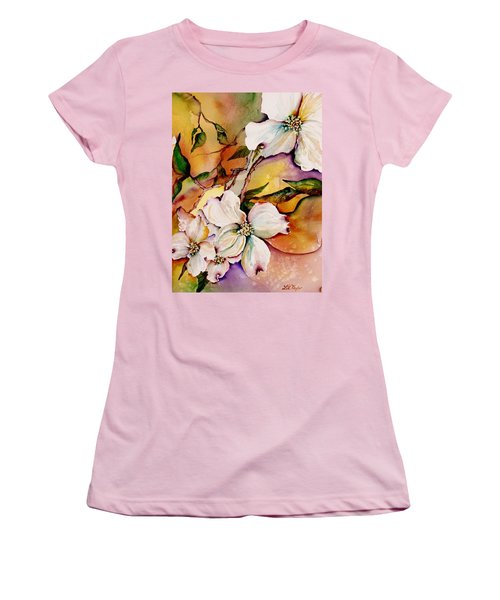Dogwood In Spring Colors Women's T-Shirt (Junior Cut) by Lil Taylor