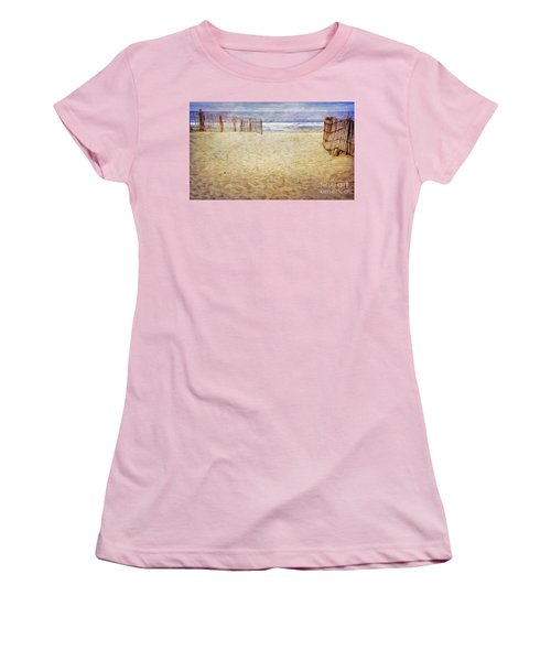 Women's T-Shirt (Junior Cut) featuring the photograph Down The Shore by Debra Fedchin