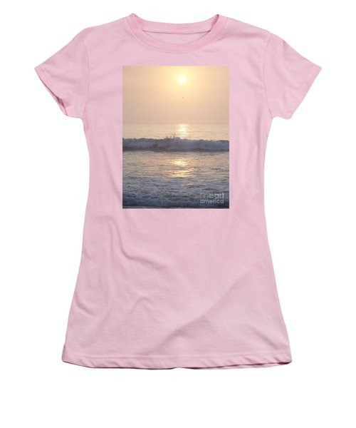 Women's T-Shirt (Junior Cut) featuring the photograph Hampton Beach Wave Ends With A Splash by Eunice Miller