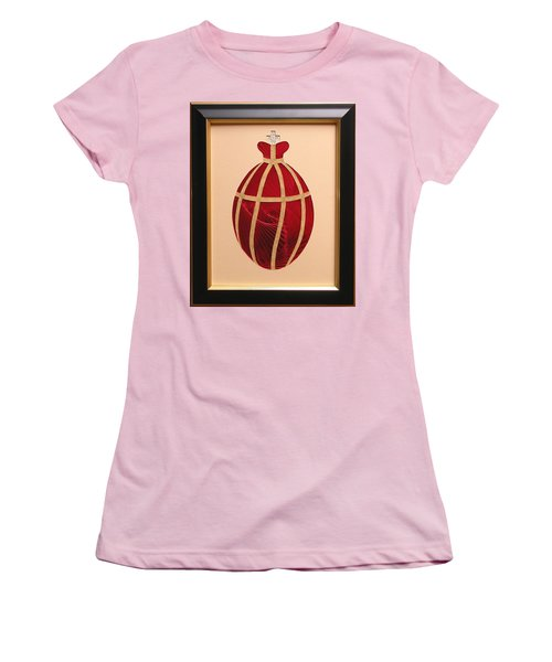 Women's T-Shirt (Junior Cut) featuring the mixed media Faberge Egg 2 by Ron Davidson