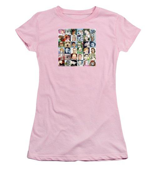 Facebook Of Faces Women's T-Shirt (Junior Cut) by Irina Sztukowski
