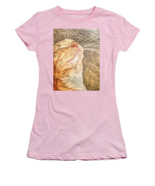 Women's T-Shirt (Junior Cut) featuring the photograph Feline Bliss by Jean Goodwin Brooks