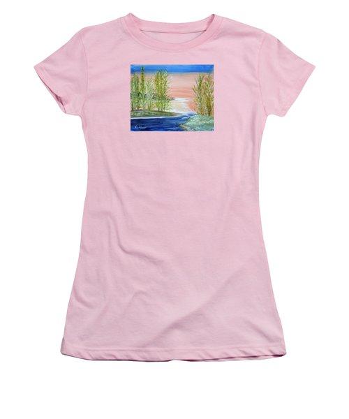 Flathead Lake Sunset Women's T-Shirt (Athletic Fit)