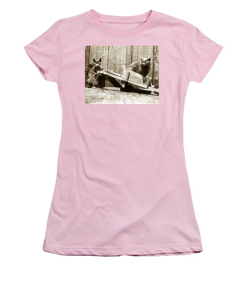 Women's T-Shirt (Junior Cut) featuring the photograph Fun With Cats Henry King Nourse Photographer Circa 1900 by California Views Mr Pat Hathaway Archives