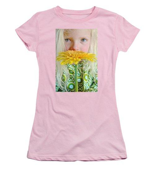 Gerbera Girl Women's T-Shirt (Junior Cut) by Suzanne Oesterling