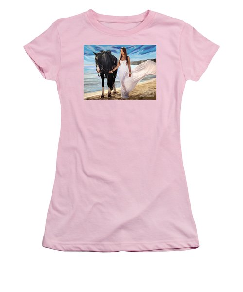 Women's T-Shirt (Junior Cut) featuring the painting Girl And Horse On Beach by Tim Gilliland