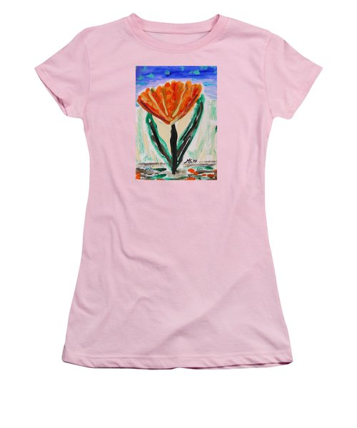 Women's T-Shirt (Junior Cut) featuring the painting Girl-flowers From The Flower Patch by Mary Carol Williams