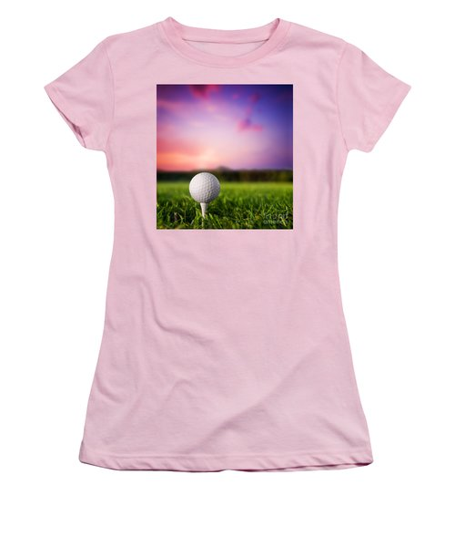 Golf Ball On Tee At Sunset Women's T-Shirt (Athletic Fit)