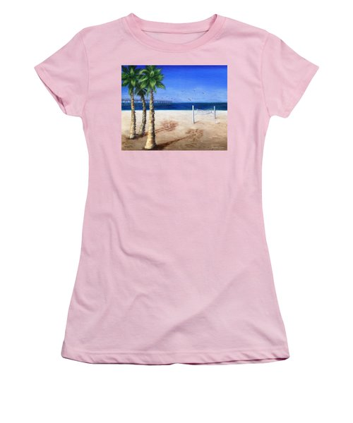 Hermosa Beach Pier Women's T-Shirt (Junior Cut) by Jamie Frier