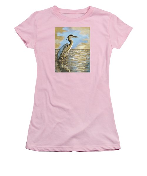 Women's T-Shirt (Junior Cut) featuring the painting Heron At Bay by VLee Watson