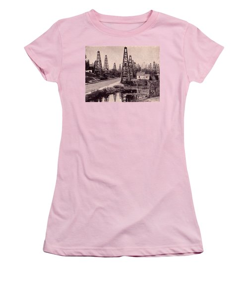 Indiana Petroluem Wells Circa 1900 Women's T-Shirt (Junior Cut) by Peter Gumaer Ogden