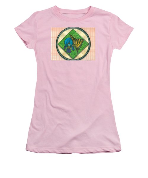 Iris And Butterfly Women's T-Shirt (Athletic Fit)