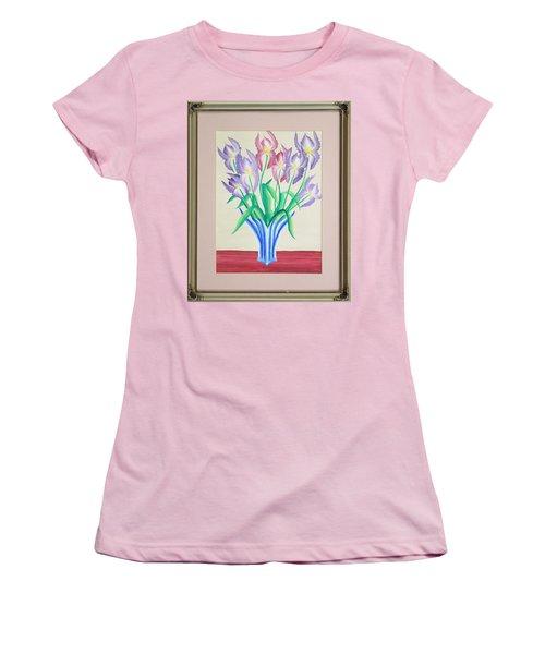Irises Women's T-Shirt (Junior Cut) by Ron Davidson