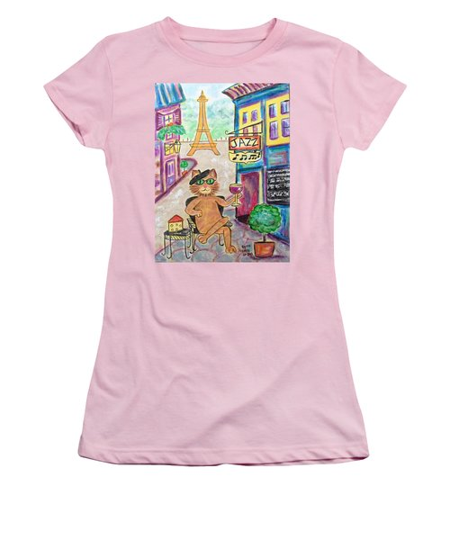 Women's T-Shirt (Junior Cut) featuring the painting Jazz Cat by Diane Pape