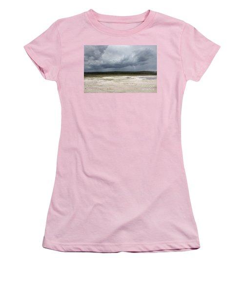 Lightening At Yellowstone Women's T-Shirt (Junior Cut) by Belinda Greb