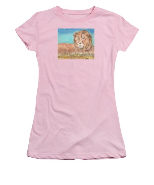 Women's T-Shirt (Junior Cut) featuring the pastel Lion by David Jackson