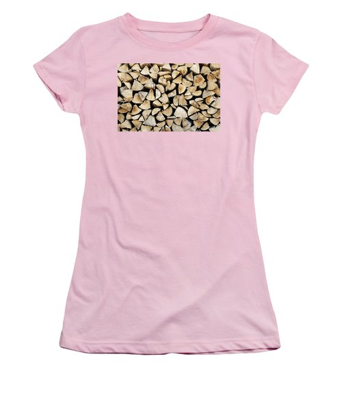Logs Background Women's T-Shirt (Athletic Fit)