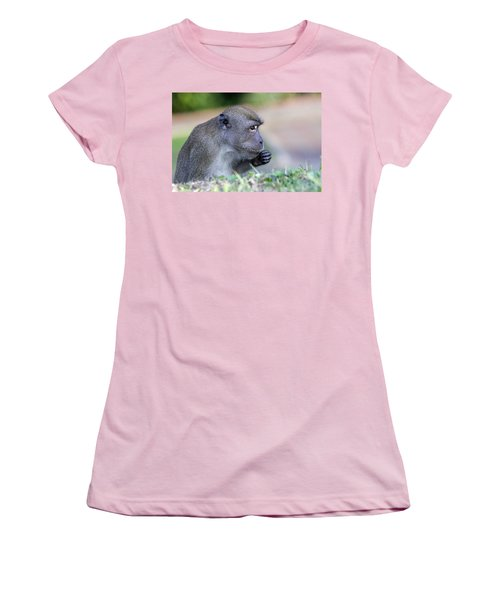 Women's T-Shirt (Junior Cut) featuring the photograph Long Tailed Macaque Feeding by Shoal Hollingsworth
