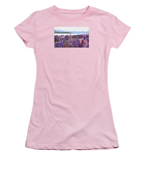 Women's T-Shirt (Junior Cut) featuring the photograph Lupins At Tekapo by Nareeta Martin