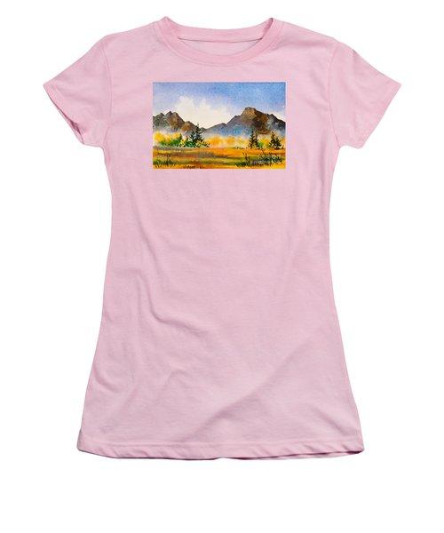 Women's T-Shirt (Junior Cut) featuring the painting Matanuska Autumn by Teresa Ascone