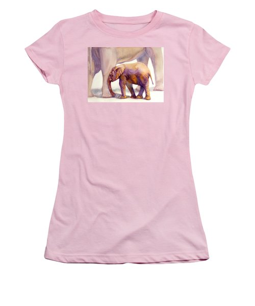 Mom And Baby Boy Elephants Women's T-Shirt (Junior Cut) by Bonnie Rinier
