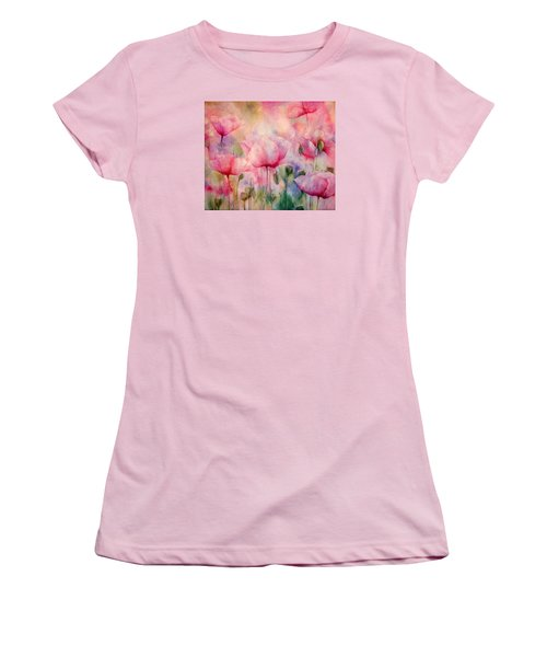 Monet's Poppies Vintage Warmth Women's T-Shirt (Athletic Fit)