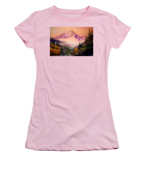 Mount Baker Morning Women's T-Shirt (Junior Cut) by Sherry Shipley
